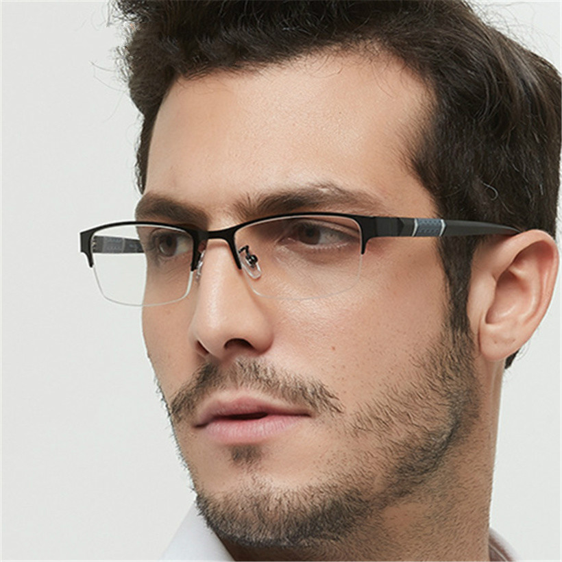 Ti-CARING Men Business Reading Glasses Fashion Metal Half Frame for Read Male Retro Eyeglasses Diopter 1.0 1.5 2.0 2.5