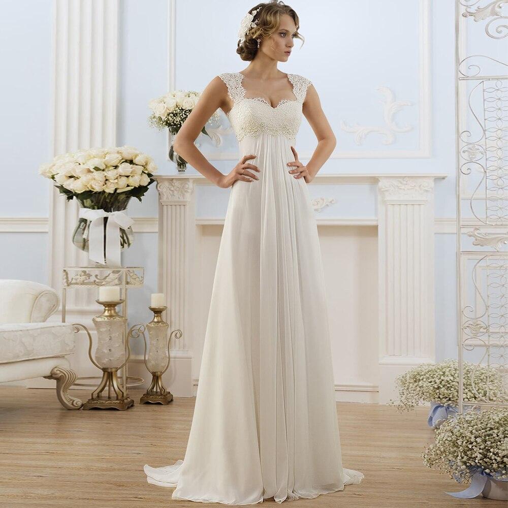 Simple Empire Waist Wedding Dress For Pregnant Woman Chiffon Boho Bride Dress Hot Sale Plus Size Cheap Bridal Gown