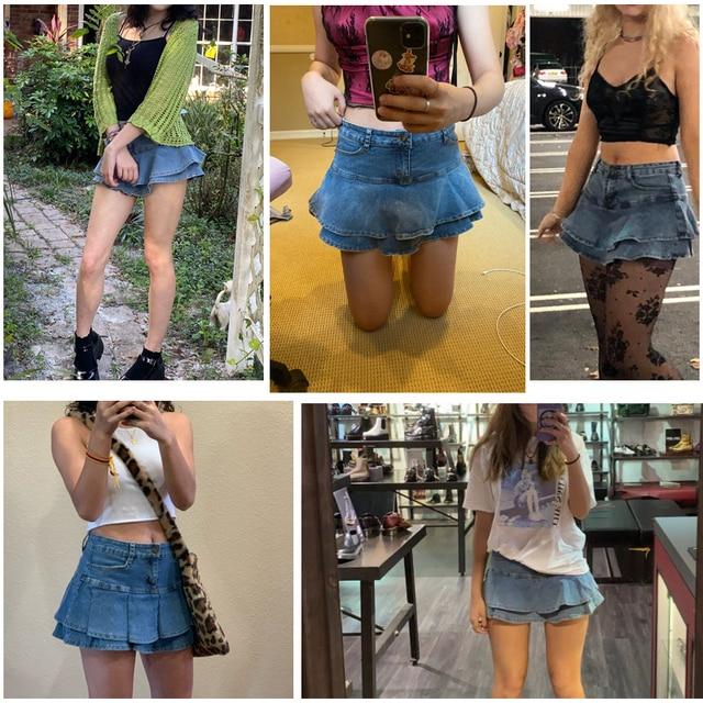 Ruffle Pleated Skirts Womens 2021 Summer Low Waist A Line Y2K Denim Skirt Sexy Mini Short Skirts Women Sex Jeans Woman Skirts 6