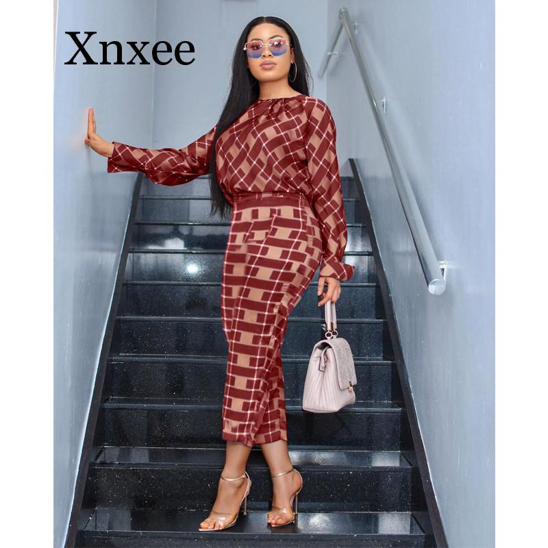 Autumn 2 Piece Outfits For Women O Neck Long Sleeve Plaid Shirt And Pencil Pant Office Ladies Casual Set Wholesale Africa Style
