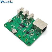 Placa de expansión USB a Ethernet para Raspberry Pi Zero HUB, Adaptador 3 USB 10/100Mbps, Interfaz Ethernet con protección de autorecuperación