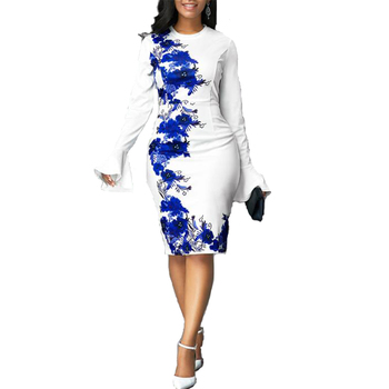 Sexy Floral Print Bodycon Dresses 2020 Spring Summer Casual Plus Size Vintage Flare Sleeve Elegant Slim Long Party Dress Vestido plus trumpet sleeve flare floral dress