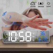 Müzik LED dijital Alarm saat sıcaklık tarih ekran masaüstü ayna saatler ev masa dekorasyon elektronik saat 2000 mAh