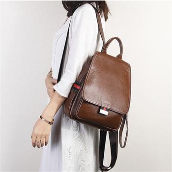 Nesitu High Quality New Cusual Black Red Khaki Green Genuine Leather Women Backpack For Girl Female Travel Bag M021