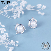 TJP S925 Pure Silver Micro-inlaid Zircon Earrings Ring Elegant Natural Freshwater Pearl