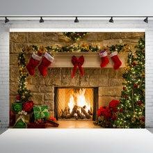 Рождественский фон камин дерево зимнее окно интерьер комнаты