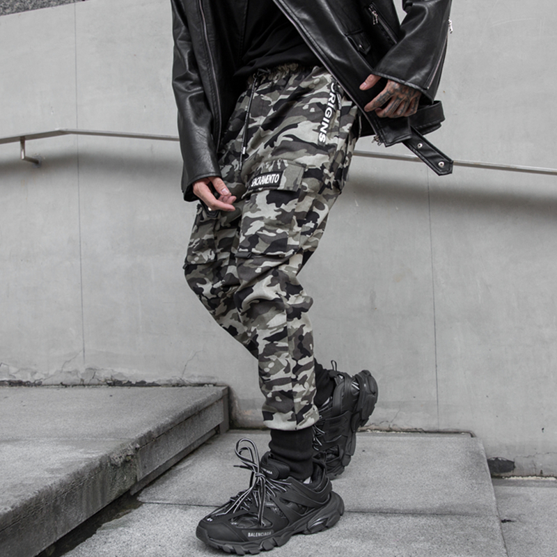 NEW Side Zipper Pockets Camouflage Casual Hip Hop Skinny Mens Cargo Sweatpants Joggers Trousers Fashion Full Length Pencil Pants