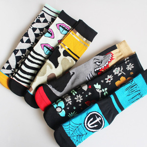 Image 5 - Autmn Winter Socks Cotton Colorful Multiple Abstract Cartoon Patterns Sweat Absorbing Deodorant Breathable Socks Unisex 2019