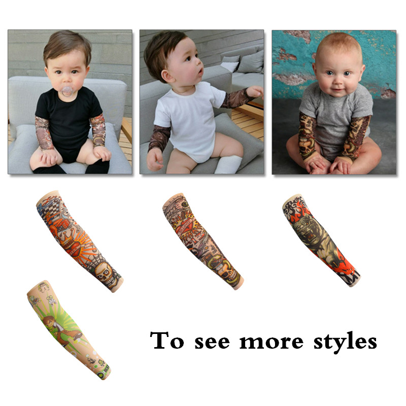 2 pcs Children Tattoo Sleeves Arm Cover Cartoon Print UV Sleeve Arms Sunscreen Breathable Ice Silk Summer Tatoo Sleeve for Kids image