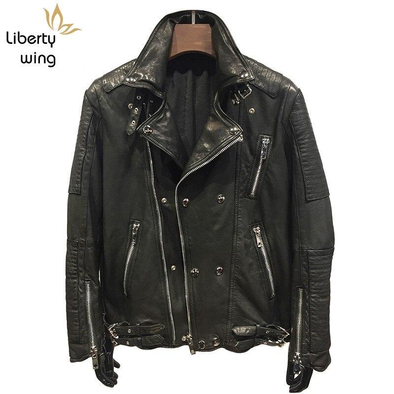 Luxury Brand Natural Leather Hip Hop Lover Sheepskin Coat Men Classic Vintage Winter Moto Jacket Slim Long Sleeve Outwear