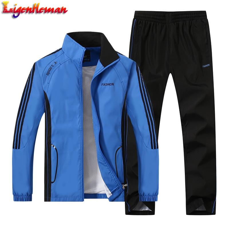 Male Clothing Tracksuit Size L-5XL New Men's Set Spring Autumn Men Sportswear 2 Piece Set Sporting Suit Jacket+Pant Sweatsuit