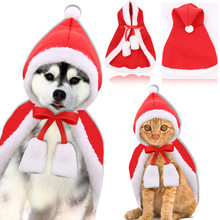 Pet Christmas Costume Kitten Cat Red Trench Coat Warm Poncho Cape with Hat Santa Claus Cloak for Puppy Dogs Cat Party Apparel(China)