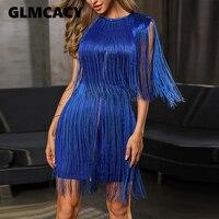 Plus Size Women Summer Celebrity Party Bandage Dress Blue Sleeveless O Neck Tassel Sexy Night Out Dress Women Bodycon Vestidos