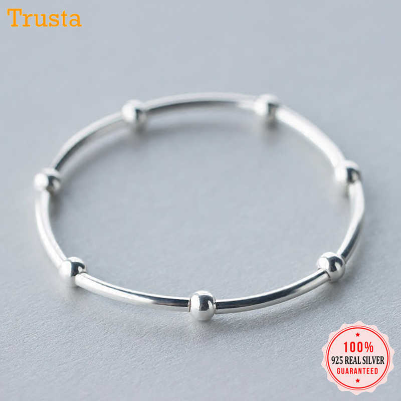 Trusta 100% 925 Sterling Silver Bracelet Linked Beads Elastic 925 Bangle Women Fashion Jewelry Gift For Girls Lady DS1406