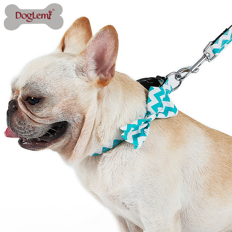 Europe And America Fashion Wave Pattern Applique Pet Collar With Bow Dog Traction Rope Set Nylon Dog Collar Chest And Back