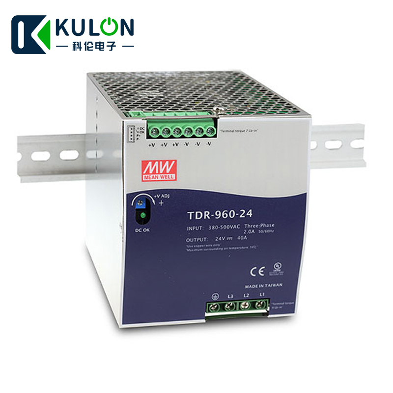 MEANWELL TDR-960-24 340-550VAC wide range input to DC three Phase Industrial DIN RAIL switching <font><b>power</b></font> <font><b>supply</b></font> 960W <font><b>24V</b></font> <font><b>40A</b></font> image
