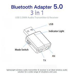 Image 2 - DISOUR 5.0 USB Bluetooth Trasmettitore Ricevitore TV Mini 3 IN 1 3.5 MILLIMETRI AUX HIFI Audio Stereo Senza Fili Adattatore Dongle per il Kit Auto PC