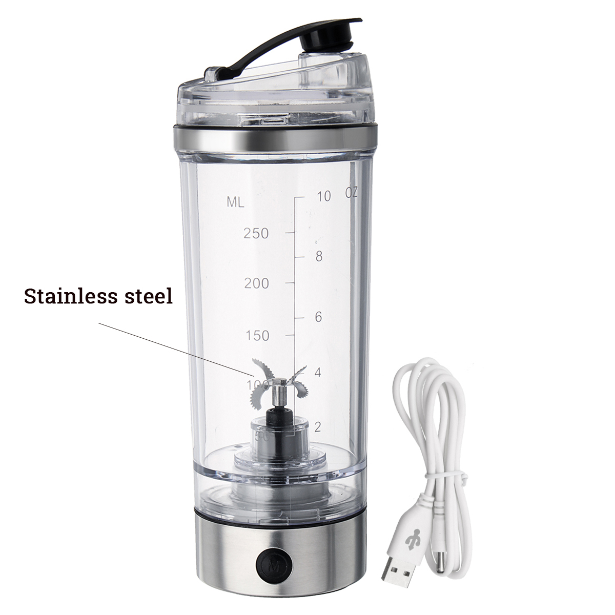 250ML Portable USB Sports Mixing Water Bottle Vortex Tornado PP Free Kitchen Stirring Electric Automatic Protein Vibrator Cup Water Bottles     - AliExpress