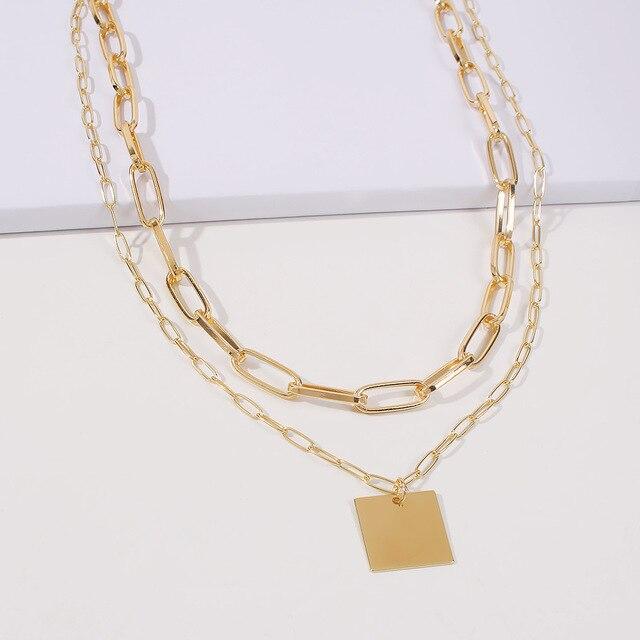 trendy geometric square necklace 5