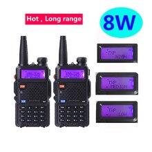 2 pçs uv 5r baofeng 8w carro talkie walkie 10 km ham rádio transceptor hf vhf frequência ultraelevada rádio scanner rádio da polícia cb rádios tokie