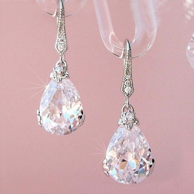 New Classic Pear Shape Cubic Zircon Women Wedding Drop Earrings Silver Color High Quality Female Timeless Earring Jewelry 1