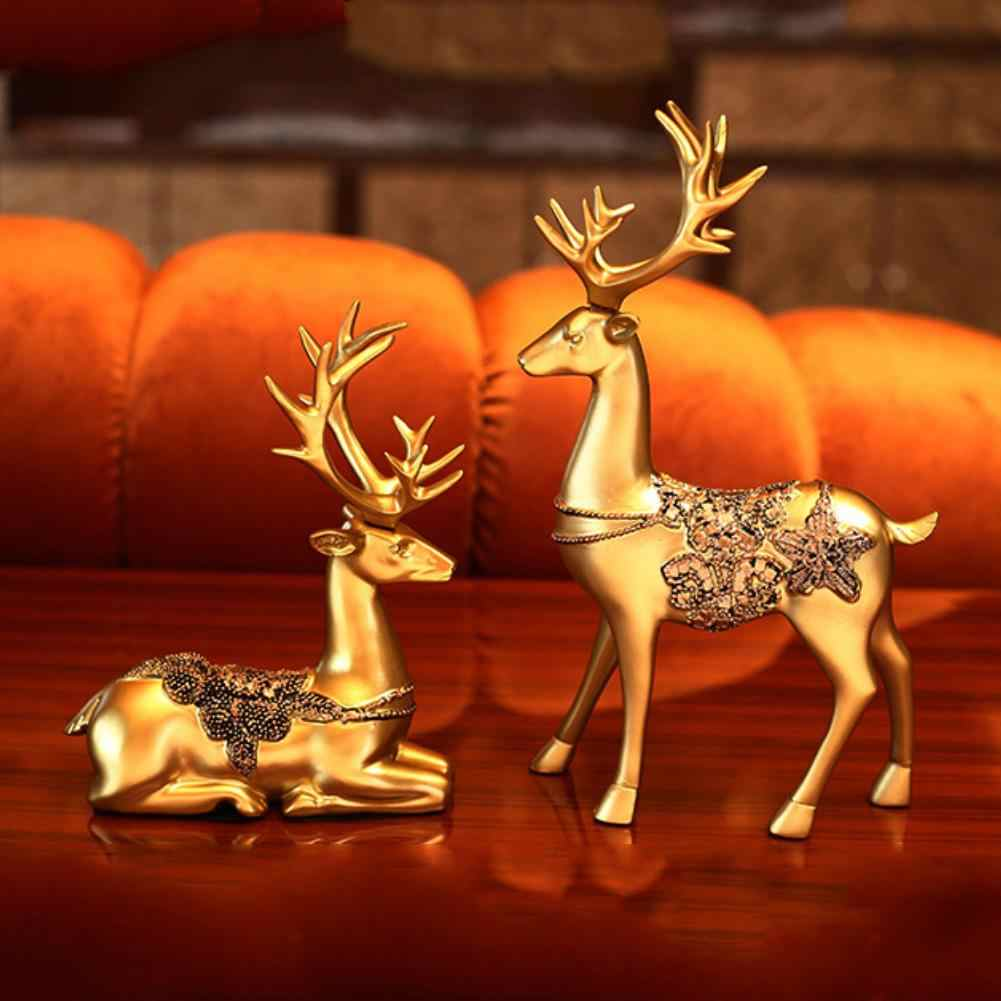 1Pair Resin Deer Statue Simulated Couple Deer Statue  Sculpture Wall Art Decoration Modern Home Ornament Christmas Home Decor