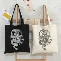 Drachen Mode Leinwand Tasche Shopper Tasche Harajuku Große Kapazität Gothic Stil Punk frauen Tasche Klassische Vintage Schulter Tasche Handtasche