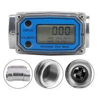 LCD Digital Turbine Flow Meter Turbine Flowmeter Diesel Fuel Flow Meter 10 120L for Measuring Gasoline Diesel Kerosene
