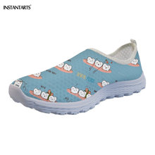 INSTANTARTS Tooth Family Printing Slip on Woman Flats Summer Quick Dry Beach Wat