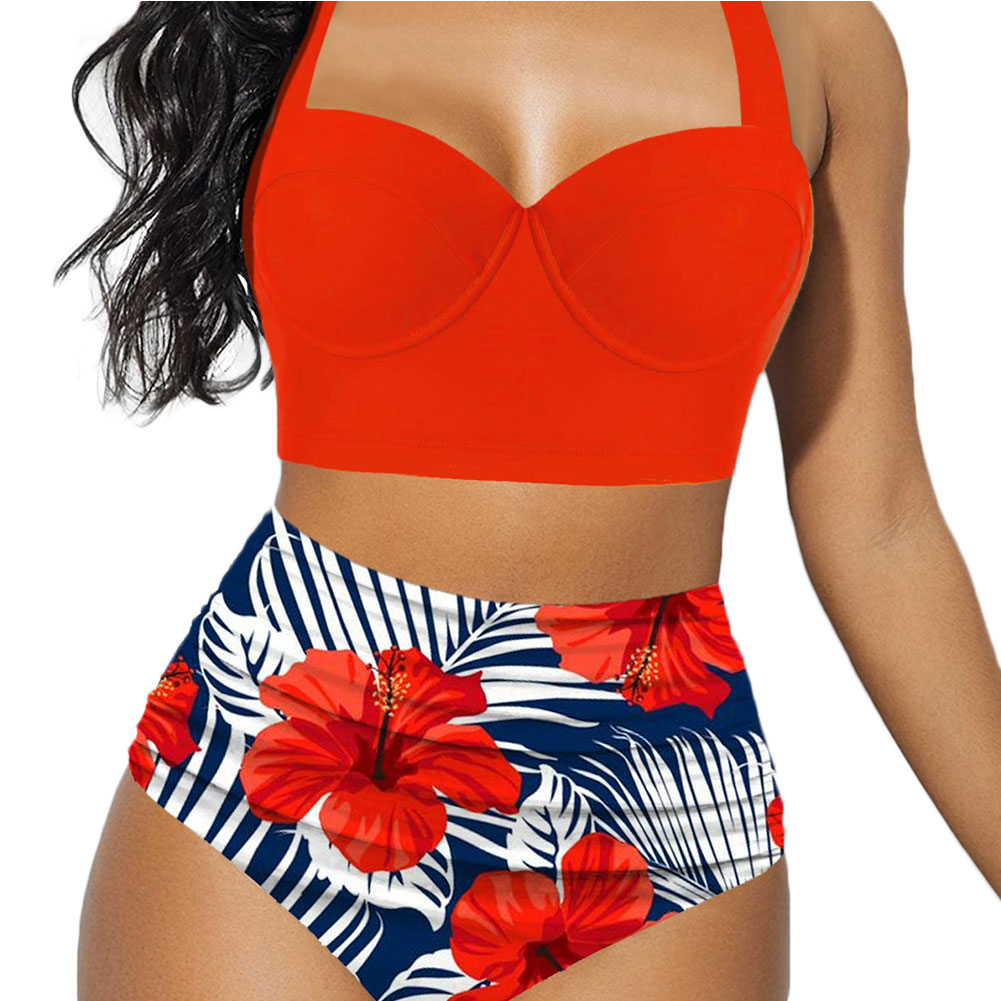 Hirigin Plus Size Women Flower Bikini Set 2020 New High Waist Push Up Swimwear Padded Bathing Suit Swimming Suit Summer 3