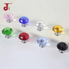 30 мм натуральный цвет Европейский Стиль Алмазная форма дизайн хрустальные стеклянные ручки Шкаф Тянет дверной ящик, ручки шкафа фурнитура