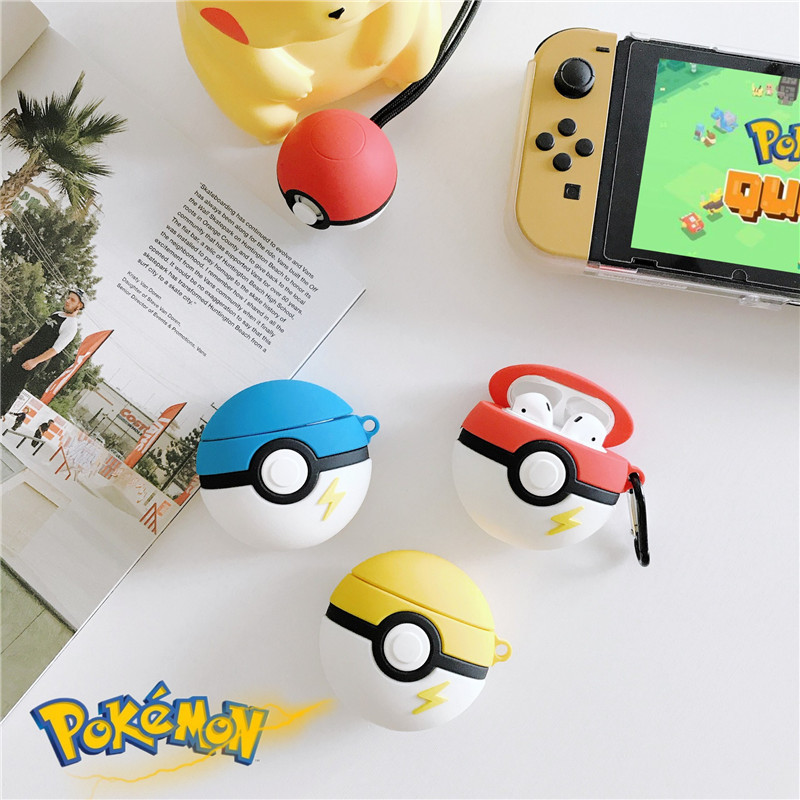 Pokemon Go Apple Airpods Case Bluetooth Wireless Earphone Protective Cover Box Silica Gel Cosplay