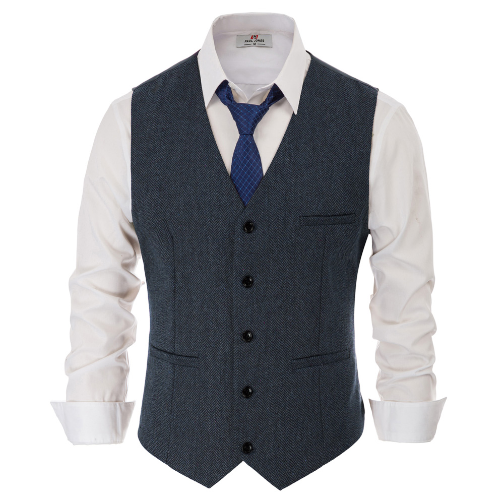 PAUL JONES Men's Slim Fit V-Neck Single Breasted Waistcoat British Herringbone Tweed Vest Jacket Premium Wool Vest Coat PJ0186