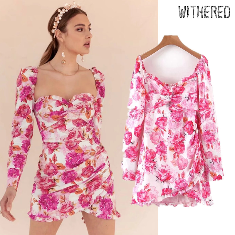 Withered Fashion Blogger Vintage Floral Printing Square Collar Party Dress Women Vestidos De Fiesta De Noche Vestidos Blazer