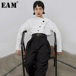 [EAM] Женская белая плиссированная блузка на пуговицах, новая Асимметричная Свободная рубашка с длинным рукавом, модная весенняя Осенняя 2019 ...