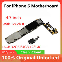For iPhone 6 4.7inch Motherboard Unlock Mainboard With /No Touch ID Full Function 100% Original IOS Installed Logic Board