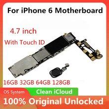Для iPhone 6 4,7 дюймов материнская плата разблокированная материнская плата с/без Touch ID полнофункциональная 100% оригинальная IOS установленная логическая плата