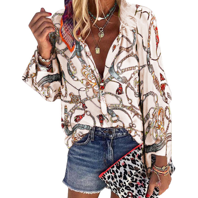 2020 New Design Plus Size Women Blouse V-neck Long Sleeve Chains Print Loose casual Shirts Womens Tops And Blouses 3