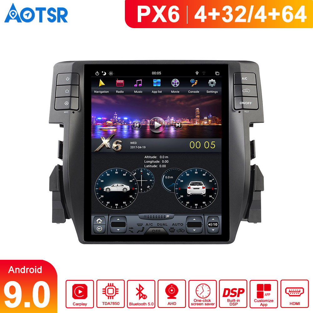 """Built in DSP Aotsr Tesla 10.4"""" Vertical screen Android 9.0 For Honda Civic 2016 2017 2018 Navigation multimedia head unit player