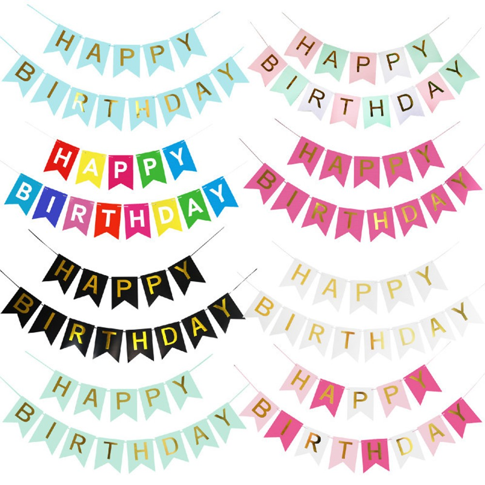 Birthday Bunting Garland Banners Paper Flags Happy Birthday Banner Decoration Birthday Party Colorful Paper Cap Supplies