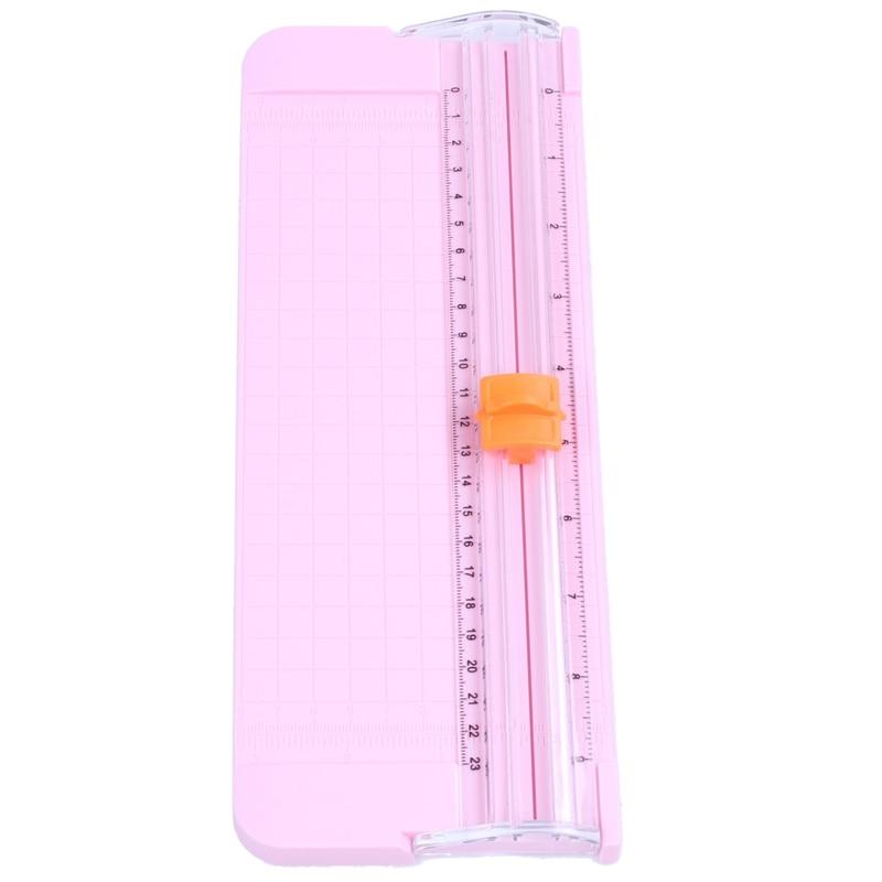 JIELISI 9090 Mini Small Slide Cutter Cut Paper Cutter Cutter Color:Pink