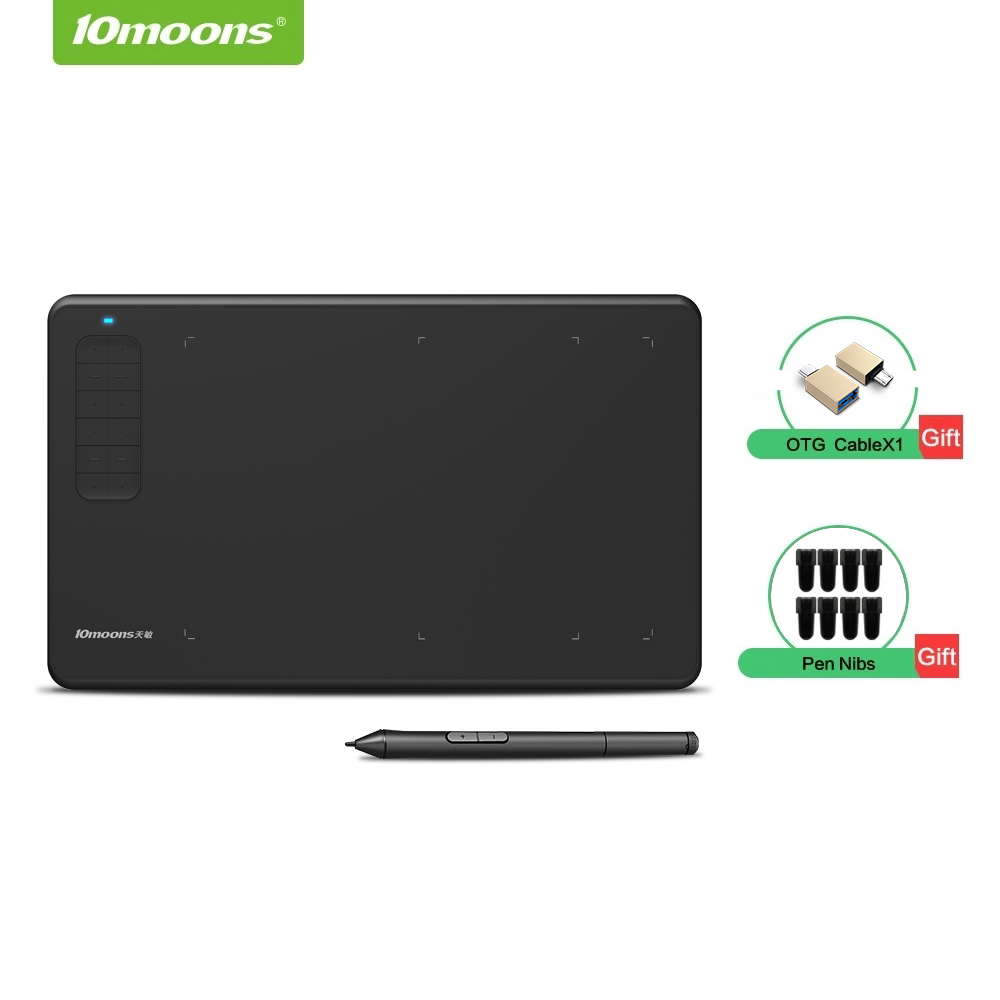 10moons G12 Graphic Drawing Tablet with Large Active Area Digital Tablet Support Android Phone