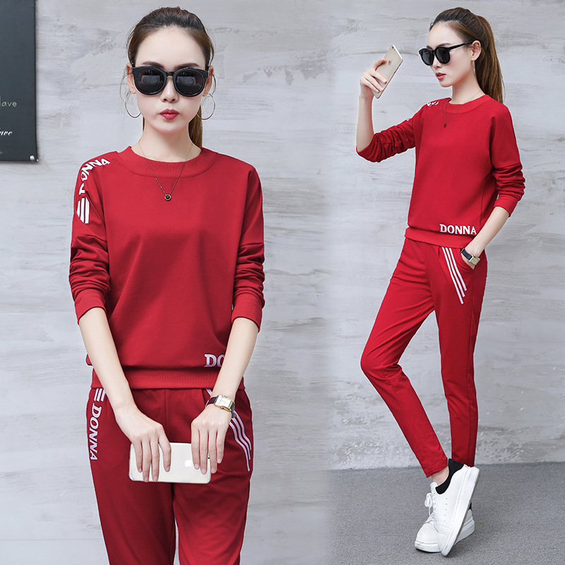 2019 Spring New Style Korean-style Hoodie Women's Long-Sleeve Trousers Casual Sports Clothing WOMEN'S Suit Two-Piece Set WOMEN'S