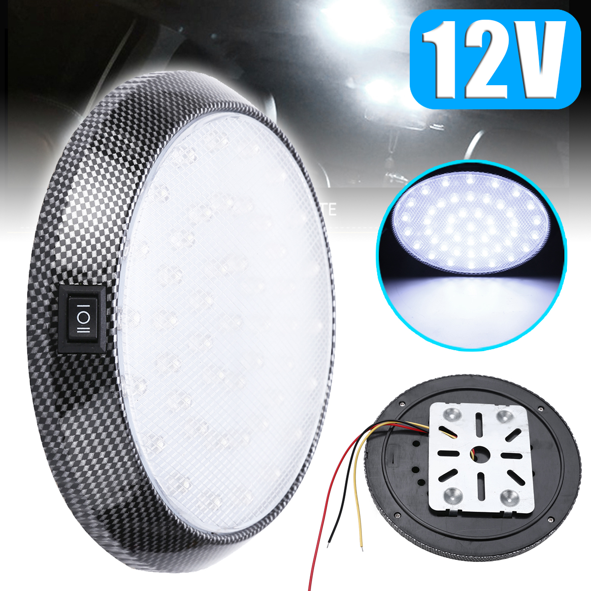46LED 12V Automobiles Car Dome Roof Ceiling Interior Light Bulb Reading Lamp White Round Style Car Lighting Accessories