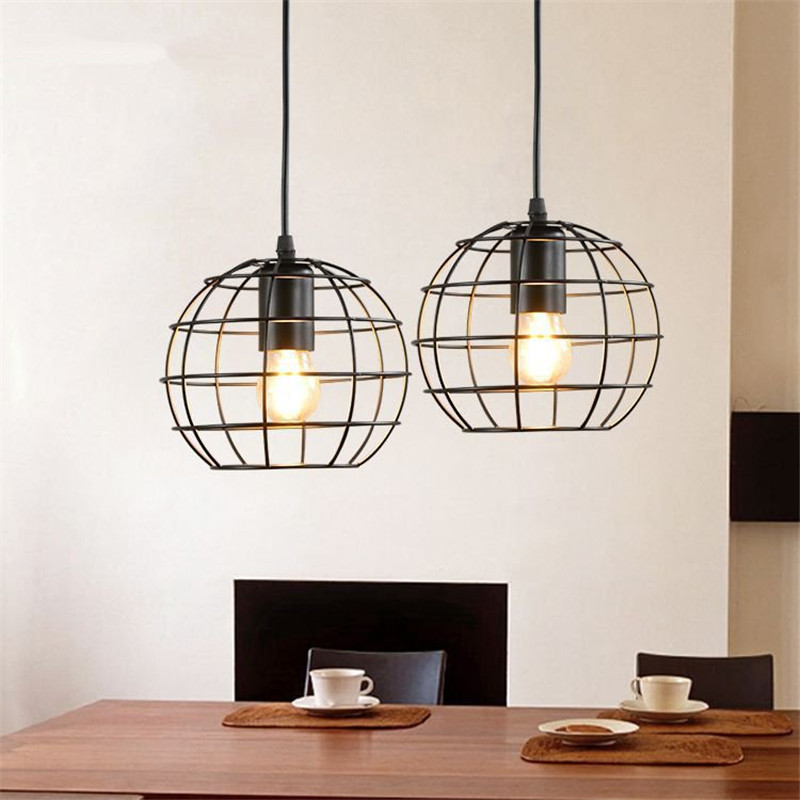 Modern Pendant Lights Vintage Loft Personality Single Hanging Lamp Iron Cage Lampshade Dining Room Home Decor Lighting Fixtures