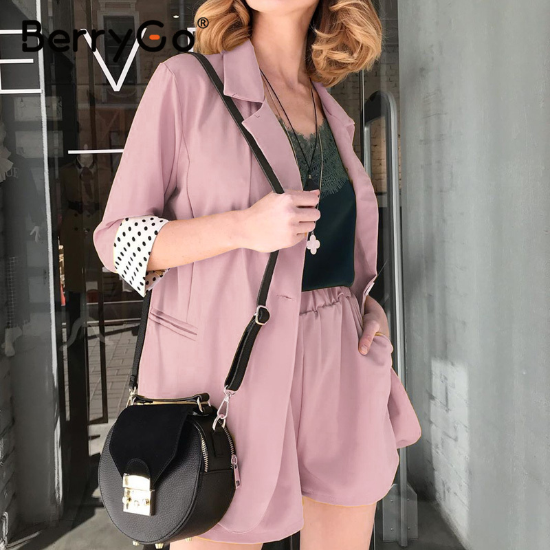 BerryGo OL Two-piece Ladies Blazer Suit Shorts Set Button Pockets Polka Dot Women Blazer 2020 Spring Summer Office Business Suit