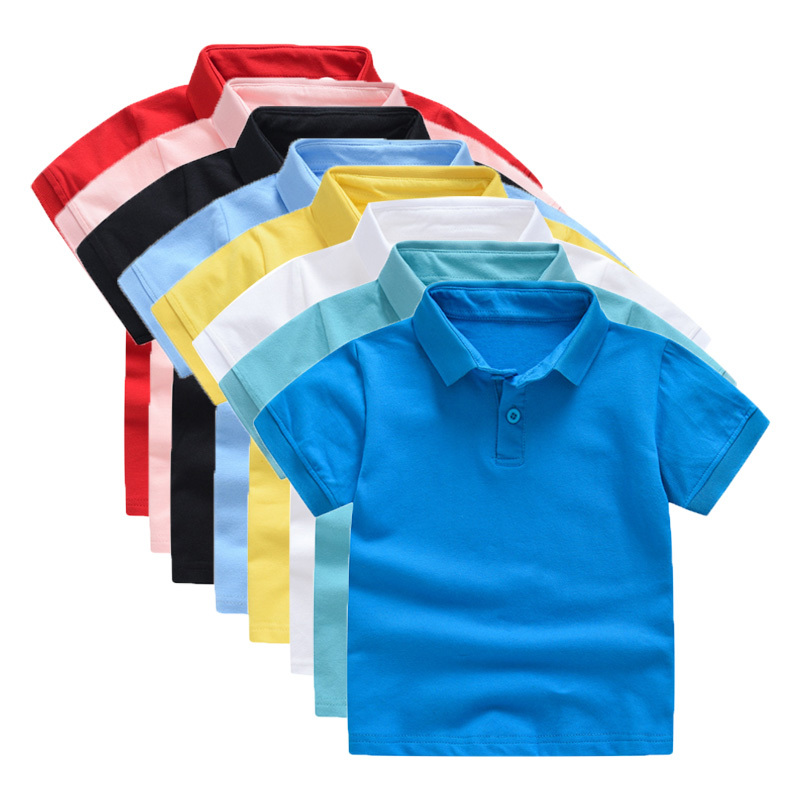2020 New Children's Shirt Clothing Summer Cotton Short Sleeved Shirt Baby Boys Girls Polo Shirt Kids Polo Clothes Out Dropship