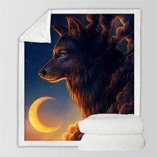 Одеяло звездное небо, плюшевое, мягкое, 3D принт, животное, волк, модные кровати для пикника, для мальчика, для путешествий, портативное постельное белье, офисное одеяло для взрослых