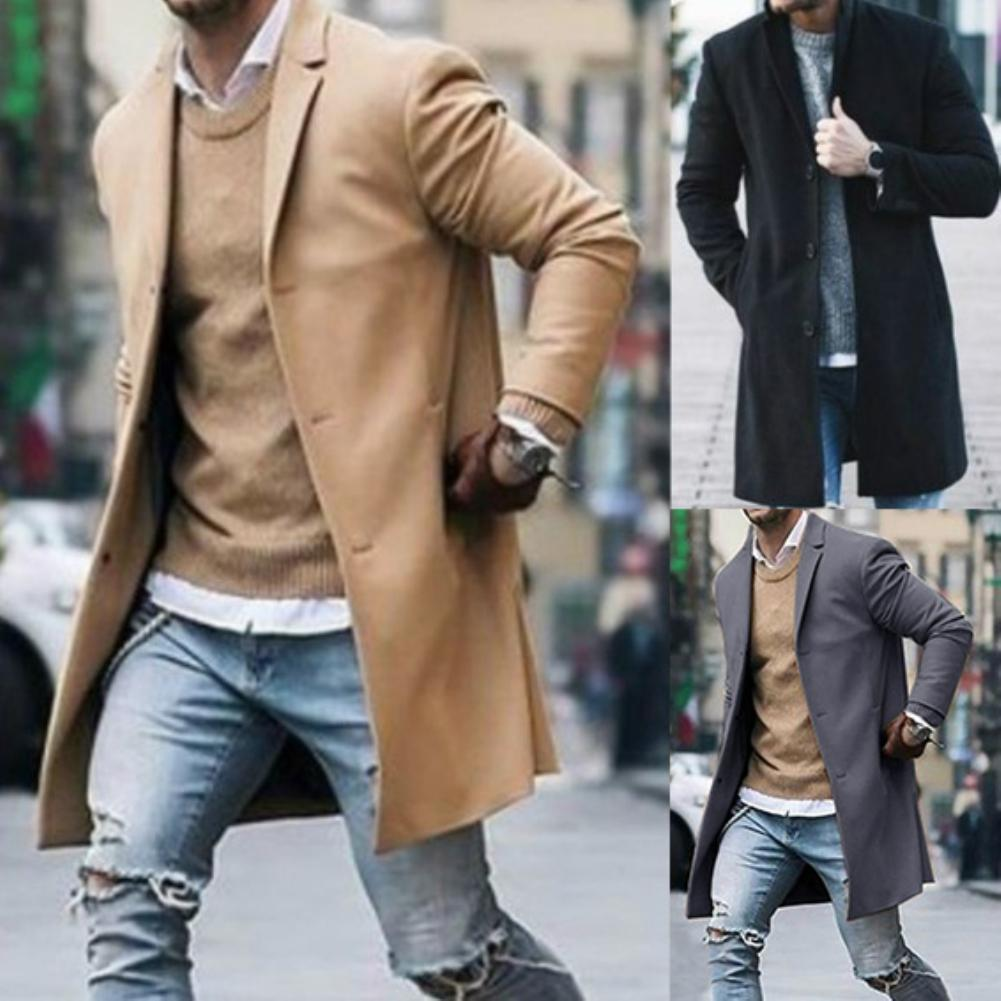 Płaszcz Fashion Men Trench Winter Solid Color Trench Coat Outwear Overcoat Long Sleeve Jacket