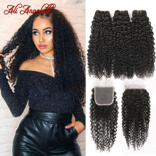 HAIR Bundles Closure Kinky Curly Ali-Annabelle with 100%Remy Peruvian Deal Pre-Plucked